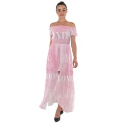Paris Off Shoulder Open Front Chiffon Dress by Lullaby