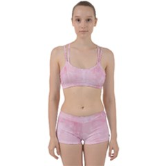 Pink Blurry Pastel Watercolour Ombre Perfect Fit Gym Set by Lullaby