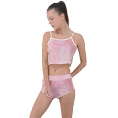 Pink Blurry Pastel Watercolour Ombre Summer Cropped Co Ord Set