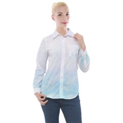 Pink Blue Blurry Pastel Watercolour Ombre Women s Long Sleeve Pocket Shirt by Lullaby