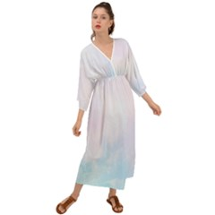 Pink Blue Blurry Pastel Watercolour Ombre Grecian Style  Maxi Dress