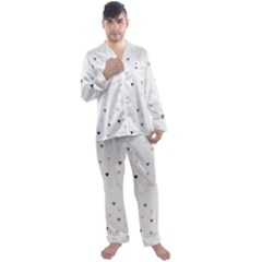 Grey Hearts Print Romantic Men s Satin Pajamas Long Pants Set