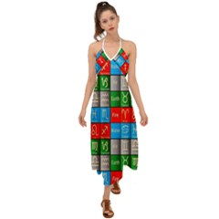 Astrology Signs Halter Tie Back Dress
