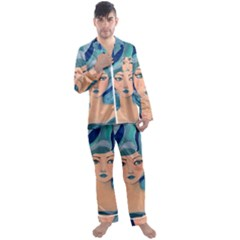 Blue Girl Men s Satin Pajamas Long Pants Set by CKArtCreations