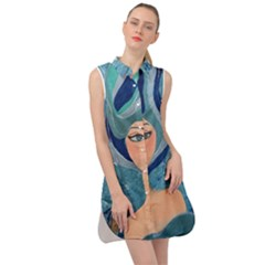 Blue Girl Sleeveless Shirt Dress by CKArtCreations