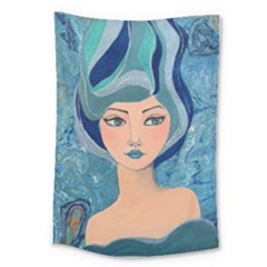 Blue Girl Large Tapestry by CKArtCreations
