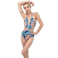 Blue Girl Plunging Cut Out Swimsuit by CKArtCreations