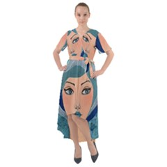 Blue Girl Front Wrap High Low Dress by CKArtCreations