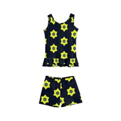 Pattern Yellow Stars Black Background Kids  Boyleg Swimsuit by Simbadda
