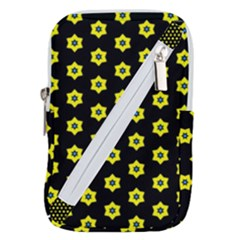 Pattern Yellow Stars Black Background Belt Pouch Bag (large) by Simbadda