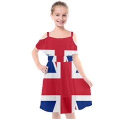Uk Flag Union Jack Kids  Cut Out Shoulders Chiffon Dress by FlagGallery