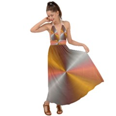 Abstract Easy Shining Backless Maxi Beach Dress