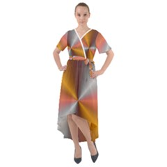 Abstract Easy Shining Front Wrap High Low Dress