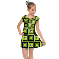 Green Pattern Square Squares Kids  Cap Sleeve Dress