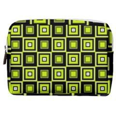 Green Pattern Square Squares Make Up Pouch (medium)