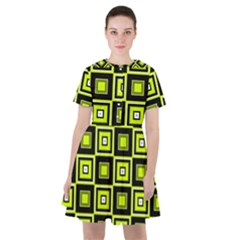 Green Pattern Square Squares Sailor Dress