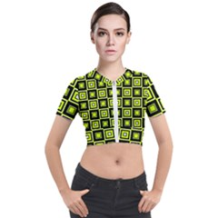 Green Pattern Square Squares Short Sleeve Cropped Jacket by Jojostore