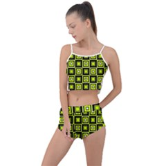 Green Pattern Square Squares Summer Cropped Co Ord Set by Jojostore