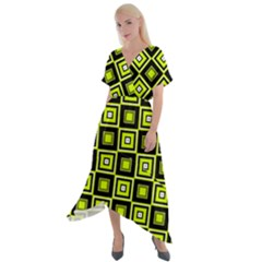 Green Pattern Square Squares Cross Front Sharkbite Hem Maxi Dress by Jojostore