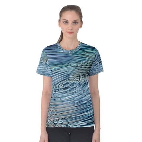 Wave Concentric Waves Circles Water Women s Cotton Tee by Alisyart