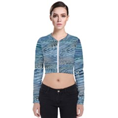 Wave Concentric Waves Circles Water Long Sleeve Zip Up Bomber Jacket
