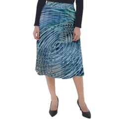 Wave Concentric Waves Circles Water Classic Velour Midi Skirt  by Alisyart