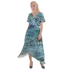 Wave Concentric Waves Circles Water Cross Front Sharkbite Hem Maxi Dress by Alisyart