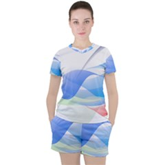 Flower Geometry Background Women s Tee And Shorts Set