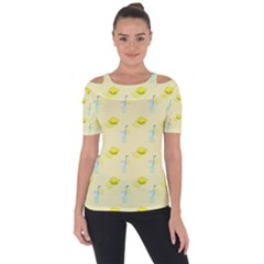 Lemonade Polkadots Shoulder Cut Out Short Sleeve Top