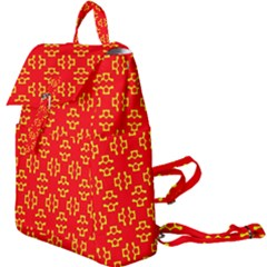 Red Background Yellow Shapes Buckle Everyday Backpack