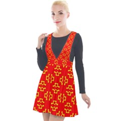 Red Background Yellow Shapes Plunge Pinafore Velour Dress