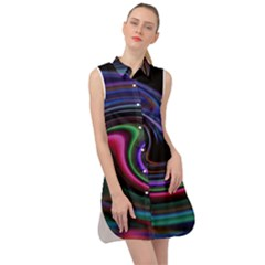 Art Abstract Colorful Abstract Art Sleeveless Shirt Dress by Simbadda