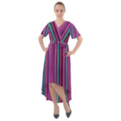 Stripes Wallpaper Texture Front Wrap High Low Dress