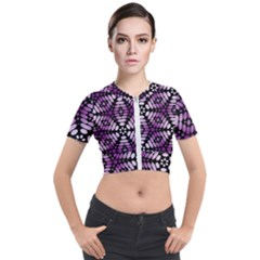 Pattern Purple Seamless Design Short Sleeve Cropped Jacket by Simbadda