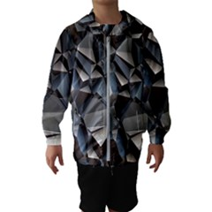 Triangles Polygon Color Silver Uni Kids  Hooded Windbreaker