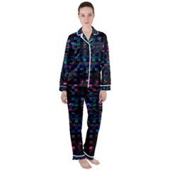 Stripes Background Black Colorful Satin Long Sleeve Pyjamas Set