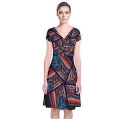Abstract Art Abstract Background Short Sleeve Front Wrap Dress