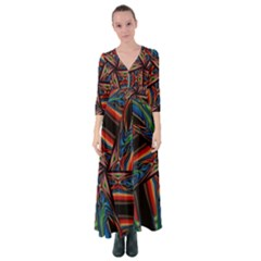 Abstract Art Abstract Background Button Up Maxi Dress