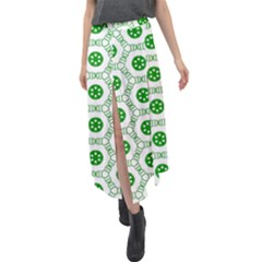 White Background Green Shapes Velour Split Maxi Skirt by Simbadda