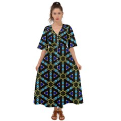 Stained Glass Pattern Church Window Kimono Sleeve Boho Dress