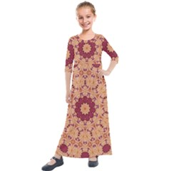 Abstract Art Abstract Background Brown Kids  Quarter Sleeve Maxi Dress