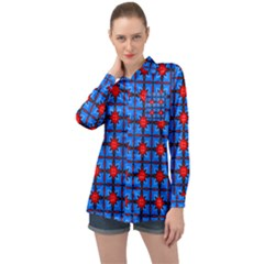 Pattern Seamless Design Texture Long Sleeve Satin Shirt