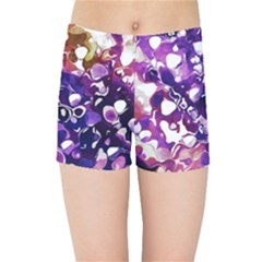 Paint Texture Purple Watercolor Kids  Sports Shorts by Simbadda