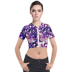 Paint Texture Purple Watercolor Short Sleeve Cropped Jacket by Simbadda