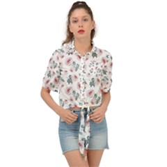 Watercolor Roses Lace Background Tie Front Shirt