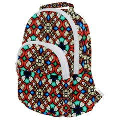 Stained Glass Pattern Texture Face Rounded Multi Pocket Backpack