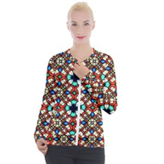 Stained Glass Pattern Texture Face Casual Zip Up Jacket