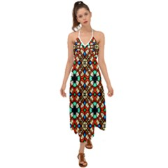 Stained Glass Pattern Texture Face Halter Tie Back Dress