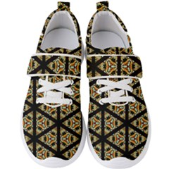 Pattern Stained Glass Triangles Men s Velcro Strap Shoes by Simbadda