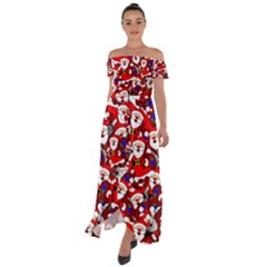 Nicholas Santa Christmas Pattern Off Shoulder Open Front Chiffon Dress